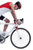 Cyclist with bike on white background Royalty Free Stock Photos