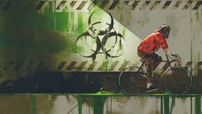 Cyclist in biohazard zone. Zombie with gas mask riding a bicycle in biohazard zone, digital art style, illustration painting stock illustration
