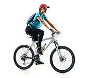 Cyclist in blue t-shirt with bike in silhouette on white background. Stock Photo