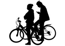 Cyclist boy and girl Stock Image
