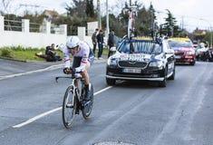 The Cyclist Boy van Poppel - Paris-Nice 2016. Conflans-Sainte-Honorine,France-March 6,2016: The Dutch cyclist Boy van Poppel of Trek-Segafredo Team riding during Stock Photo