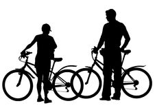 Cyclist boys bike on white Royalty Free Stock Image