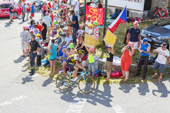 The Cyclist Bram Tankink on Col du Glandon - Tour de France 2015 Royalty Free Stock Photo