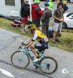 The Cyclist Bram Tankink - Tour de France 2015. Col du Glandon, France - July 24, 2015: The Dutch cyclist, Bram Tankink of Team LottoNL-Jumbo,climbing the road Royalty Free Stock Photos