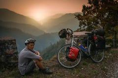 Cyclist on a break Stock Photography