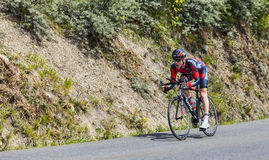 The Cyclist Brent Bookwalter. Chorges, France- July 17, 2013: The American cyclist Christophe Le MeveBrent Bookwalter from BMC Racing Team pedaling during the Stock Photo