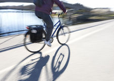 Cyclist on bridge Royalty Free Stock Photo