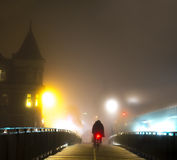 Cyclist on bridge Royalty Free Stock Photography
