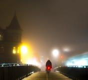Cyclist on bridge Royalty Free Stock Photography