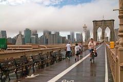 Cyclist on Brooklyn Bridge New York USA Royalty Free Stock Image