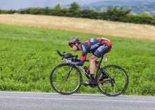 The Cyclist Cadel Evans. Chorges, France- July 17, 2013: The Australian cyclist Cadel Evans from BMC Racing Team pedaling during the stage 17 of 100th edition of Stock Photo