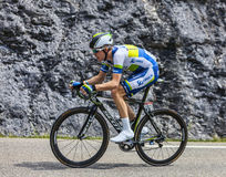 The Cyclist Cameron Meyer. Chorges, France- July 17, 2013: The Australian cyclist Cameron Meyer from Orica-GreenEDGE Team pedaling during the stage 17 of 100th Stock Photo