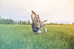 Cyclist carries bicycle in field Stock Photo