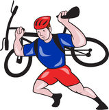 Cyclist Carry Mountain Bike on Shoulders Cartoon Stock Photo