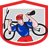 Cyclist Carrying Mountain Bike on Shoulders Cartoon Royalty Free Stock Photography