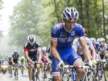 The Cyclist Cedric Pineau Climbing Col du Platzerwasel - Tour de Royalty Free Stock Photo