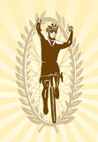 Cyclist celebrating his win. Victory, vector illustration, easy to edit layers Stock Photo