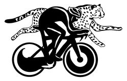 Cyclist and cheetah race, vector illustration. Cyclist and cheetah race, black and white vector illustration, easy to edit layers Stock Image