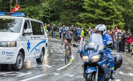 The Cyclist Christophe Riblon - Tour de France 2014. Le Markstein, France- July 13, 2014: The French cyclist Christophe Riblon of AG2R La Mondiale team climbing Royalty Free Stock Photography