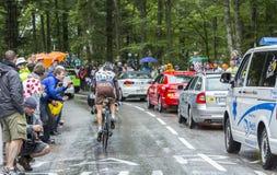 The Cyclist Christophe Riblon - Tour de France 2014. Le Markstein, France- July 13, 2014: The French cyclist Christophe Riblon of AG2R La Mondiale team climbing Stock Images