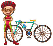 A cyclist. A coloured drawing of a cyclist on a white background Stock Images