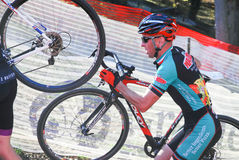 Cyclist competes in Cyclocross Race Royalty Free Stock Image