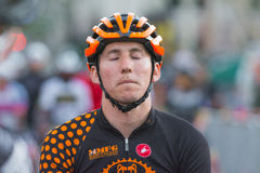 Cyclist concentrating before bike race Stock Photo