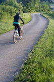 Cyclist on country road. Rear view of cyclist traveling on winding countryside road Stock Photography