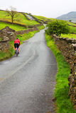 Cyclist in countryside. Rear view of cyclist on road in green countryside of Lake District National Park, Cumbria, England Stock Images