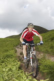 Cyclist On Countryside Track. Male cyclist on countryside track against hill and sky Stock Photos
