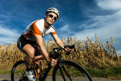 Cyclist in a curve Royalty Free Stock Images