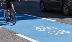 Cyclist on a Cycle Superhighway in London Stock Photography