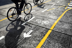 Cyclist on cycle track background Royalty Free Stock Photos