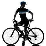 Cyclist cycling riding bicycle woman isolated white background s. One caucasian cyclist woman cycling riding bicycle standing smiling isolated on white royalty free stock photo