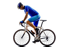 Cyclist cycling road bicycle silhouette stock photo
