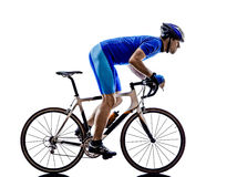 Cyclist cycling road bicycle silhouette Royalty Free Stock Photography