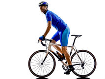 Cyclist cycling road bicycle silhouette royalty free stock photos
