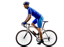 Cyclist cycling road bicycle silhouette royalty free stock image
