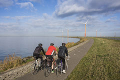 Cyclist on a cylingpath lined with windmills Royalty Free Stock Photos