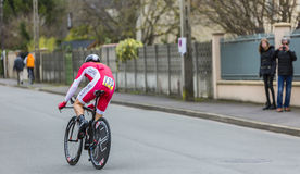 The Cyclist Cyril Lemoine - Paris-Nice 2016. Conflans-Sainte-Honorine,France-March 6,2016: The French cyclist Cyril Lemoine of Cofidis Team riding during the Royalty Free Stock Photography