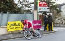 The Cyclist Cyril Lemoine - Paris-Nice 2016. Conflans-Sainte-Honorine,France-March 6,2016: The French cyclist Cyril Lemoine of Cofidis Team riding during the Royalty Free Stock Photos