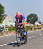 The Cyclist Damiano Cunego. Ardevon,France-July 10, 2013: The Italian cyclist Damiano Cunego from  Lampre-Merida Team cycling during the stage 11 of the edition Stock Photo
