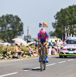 The Cyclist Damiano Cunego. Ardevon,France-July 10, 2013: The Italian cyclist Damiano Cunego from Lampre-Merida Team cycling during the stage 11 of the edition Royalty Free Stock Photo