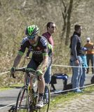 The Cyclist Daniel McLay in The Forest of Arenberg- Paris Roubaix 2015 stock images