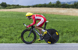 The Cyclist Daniel Navarro. Chorges, France- July 17, 2013: The Spanish cyclist Daniel Navarro from Cofidis Team pedaling during the stage 17 of 100th edition of Royalty Free Stock Image