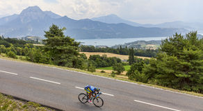The Cyclist Daniele Bennati. Chorges, France- July 17, 2013: The Italian cyclist Daniele Bennati from Team Saxo-Tinkoff pedaling during the stage 17 of 100th Stock Images