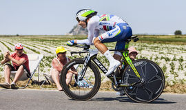 The Cyclist Daryl Impey. Le Pont Landais,France-July 10, 2013: The South African cyclist Daryl Impey from Orica-GreenEDGE Team cycling during the stage 11 of the Stock Photography