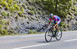 The Cyclist Davide Cimolai. Chorges, France- July 17, 2013: The Italian cyclist Davide Cimolai from Lampre-Merida Team pedaling during the stage 17 of 100th Stock Photos