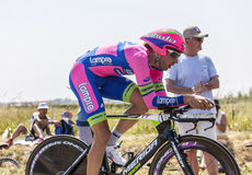 The Cyclist Davide Cimolai. Le Mont Saint Michel,France-July 10, 2013: The Italian cyclist Davide Cimolai from Team Lampre-Merida cycling during the stage 11 of Royalty Free Stock Photography