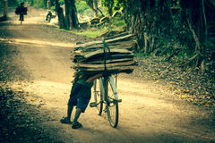 Cyclist on Dirt Road in the jungle. Cambodia Stock Image
